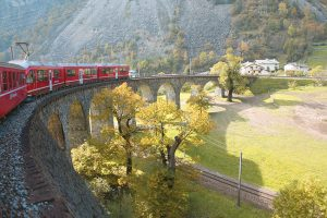Passing over the Brusio Spiral Viaduct on the Bernina Express Railway