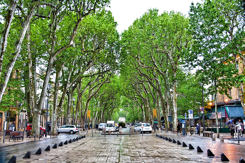 The wide avenue of Cours Mirabeau