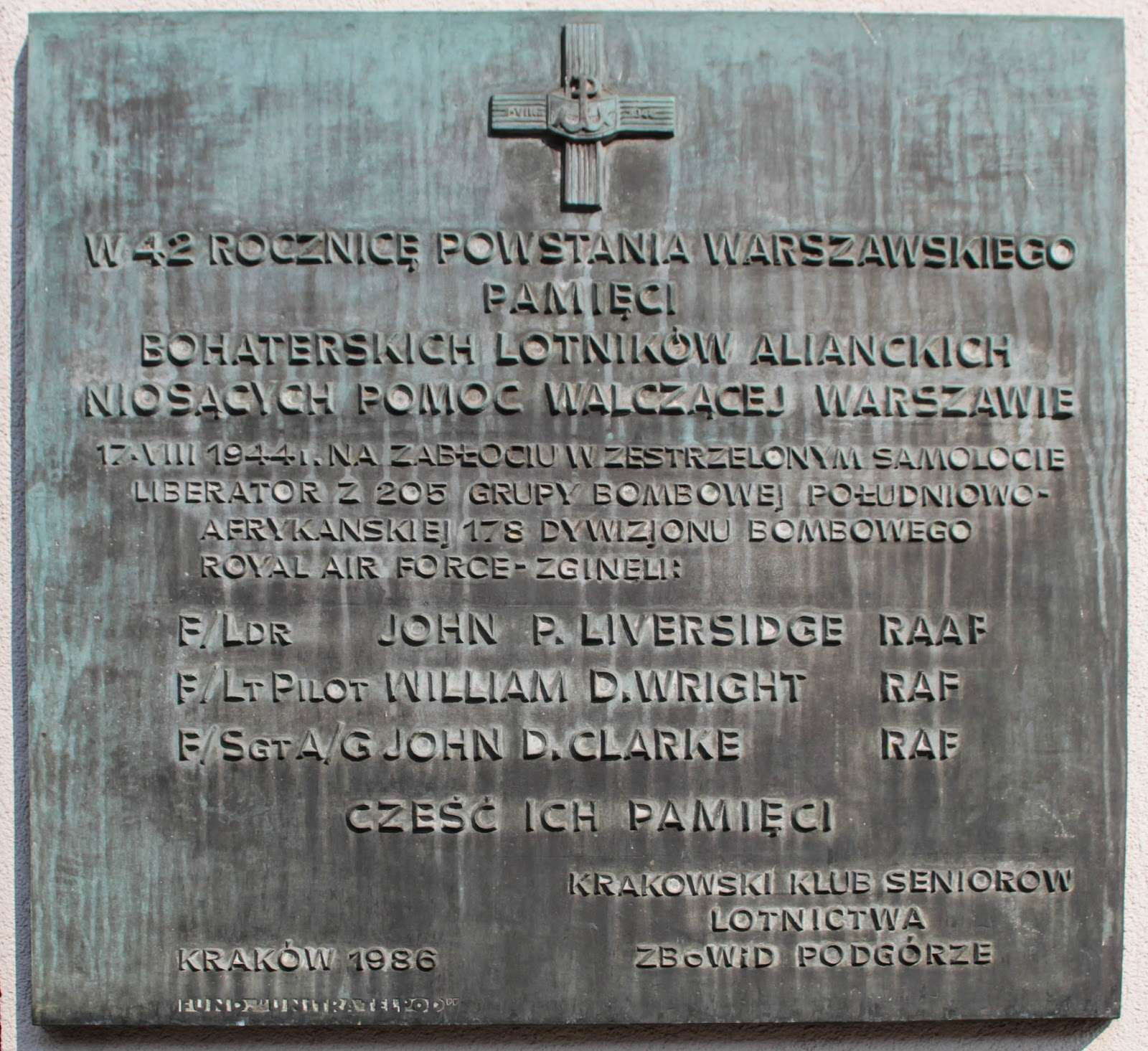 Aircrew Memorial Plaque at the Schindler Factory Museum